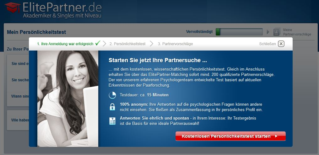Elitepartner Partnervermittlung Test starten